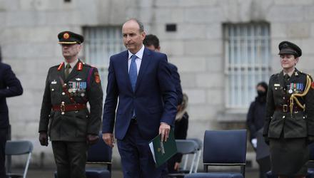 Taoiseach Micheál Martin at the National Day of Commemorations ceremony at Collins Barracks in Dublin. Photo: Julien Behal.