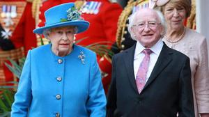 Michael D Higgins with the Queen in 2014. Photo: Peter MacDiarmid/Getty Images