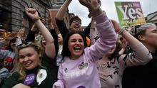 Change: Yes voters celebrate as the result of the referendum on the Eighth Amendment is declared at Dublin Castle on May 26, 2018. PHOTO: GETTY IMAGES