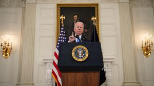 US President Joe Biden speaking about his hope that Facebook will do a better job of policing misinformation on its platform. Picture by Drew Angerer/Getty Images