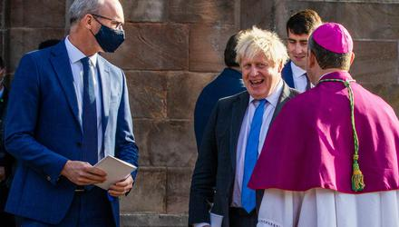 Minister for Foreign Affairs Simon Coveney with British Prime Minister Boris Johnson and Archbishop of Armagh and the Primate of All Ireland Archbishop Eamon Martin during a service to mark the centenary of Northern Ireland at St Patrick's Cathedral in Armagh. Photo: Liam McBurney/PA Wire