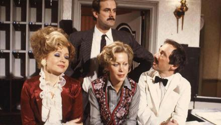 The cast of classic comedy Fawlty Towers