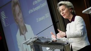 """Europe invested billions to help develop the world's first Covid-19 vaccines,"" said EU Commission President Ursula von der Leyen. ""And now the companies must deliver."" Photo: Olivier Hoslet/Pool via Reuters"