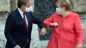 Angela Merkel and Armin Laschet, who has been voted the newleader of Germany's Christian Democrats.Photo: Reuters
