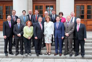 Enda Kenny and Joan Burton with Ministers of State - Labour could find itself running out of time.