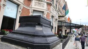 Gone but not forgotten: The plinths at Dublin's Shelbourne Hotel after its owners opted to remove the iconic statutes. PHOTO: COLLINS PHOTOS