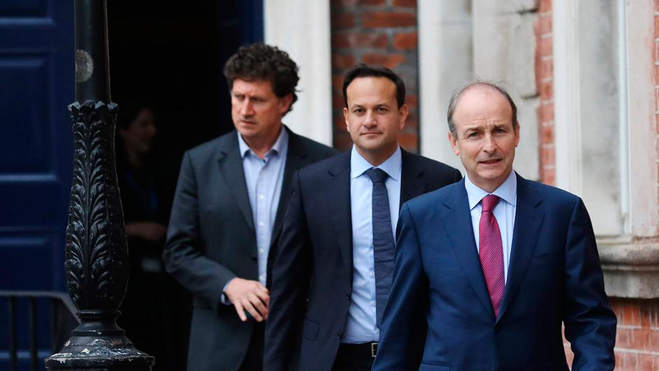 Transport Minister Eamon Ryan (left) Tánaiste Leo Varadkar and Taoiseach Micheál Martin.