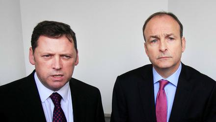 Barry Cowen, left with Micheál Martin, is the political bore, the ex-minister who drones on about how hard done by he was. Photo: Gareth Chaney/Collins