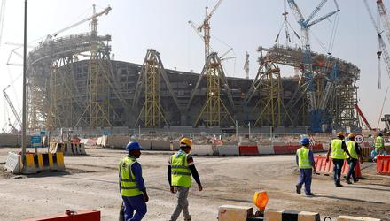 A file image of the construction site of the Lusail stadium for the upcoming 2022 World Cup in Doha, Qatar. Photo: Reuters/Kai Pfaffenbach