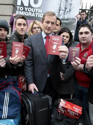 Enda Kenny with young Fine Gaelers in 2009.