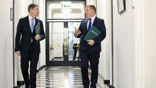 Michael McGrath  and  Minister for Finance Paschal Donohoe pictured at Government Buildings,Dublin for Budget 2021.  NO FEE NO REPRO FEE. JULIEN BEHAL PHOTOGRAPHY.