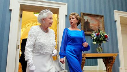 Then President Mary McAleese with Britain's Queen Elizabeth at Dublin Castle in May 2011. Photo: Maxwell's Dublin
