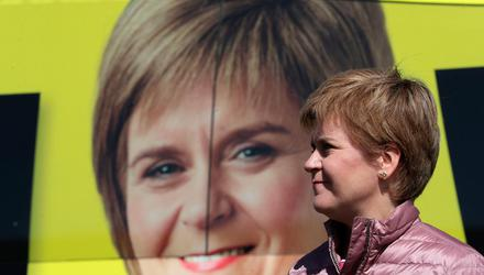 SNP leader Nicola Sturgeon on the campaign trail in north-east Scotland on Wednesday, May 5. Photo: Russell Cheyne/Reuters