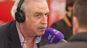 Ploughing on: Marty Whelan with Neven Maguire on 'Marty in the Morning' in the RTÉ stand of the National Ploughing Championships in Screggan, Co Offaly. Photo: Kinlan Photography