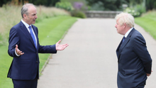 Common ground: Taoiseach Micheál Martin with British Prime Minister Boris Johnson at Hillsborough Castle in Belfast yesterday. Photo: Reuters