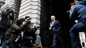 British prime minister Boris Johnson leaves a cabinet meeting at the Foreign and Commonwealth Office in London yesterday. Photo: Reuters