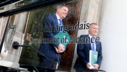 Minister for Finance Paschal Donohoe and Minister for Public Expenditure and Reform Michael McGrath pictured in the Department of Finance ahead of Budget 2022. Photo: Gerry Mooney