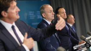 Taoiseach Micheál Martin, Leo Varadkar, Eamon Ryan, and Michael McGrath at the launch of the National Development Plan. Picture by Julien Behal