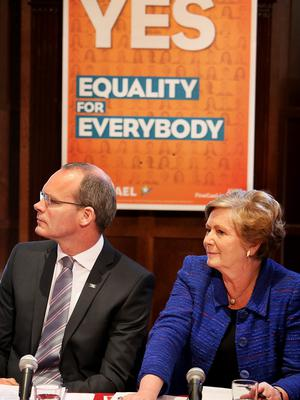 Simon Coveney and Frances Fitzgerald launching the Fine Gael 'Yes' campaign at the start of the marriage equality referendum