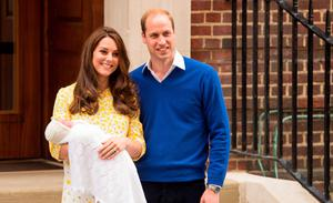 THE WORLD WATCHED ON: As the next generation of royalty made its bow. The Duchess of Cambridge with Princess Charlotte and Prince William. The shawl the new-born baby wore became a multi-million pound must-have overnight