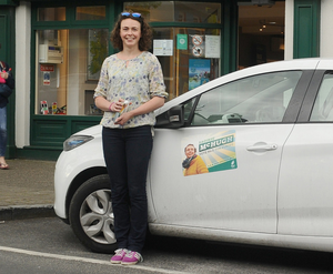 Respectable vote haul: Saoirse McHugh Green Party candidate on the canvass in Westport. PHOTO CONOR MCKEOWN