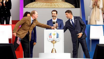 Team Europe captain Pádraig Harrington, right, and Team USA captain Steve Stricker shake hands during the opening ceremony of the Ryder Cup last Thursday. Picture by Jonathan Ernst/Reuters