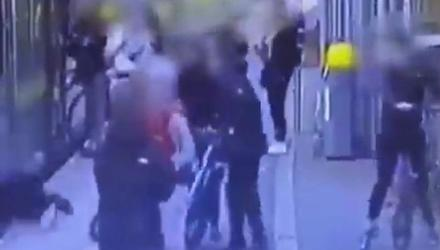 The incident in which a woman was knocked onto the train tracks at a Dart station was captured on CCTV