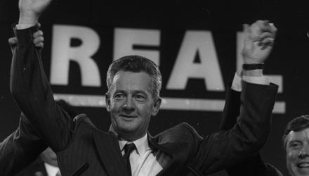 Des O'Malley at a press conference in Dublin in 1992. Photo: Collins Photos