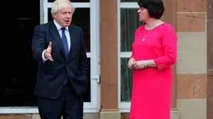 British Prime Minister Boris Johnson with DUP leader Arlene Foster, whose party has called on Mr Johnson to invoke Article 16. Photo: Brian Lawless/PA Wire