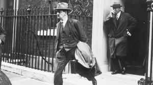History in the making: Michael Collins leaving 10 Downing Street after Anglo-Irish Treaty talks in 1921. Photo: Hulton Archive
