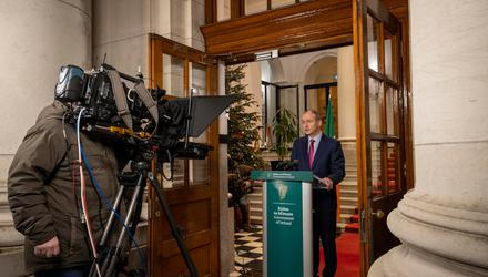 Tough job: Taoiseach Micheál Martin addressing the nation at Government Buildings last week to announce the return to Level 5 lockdown. Photo: Julian Behal
