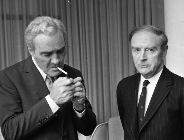 Tanaiste Brendan Corish, left, and Taoiseach Liam Cosgrave pictured in 1976