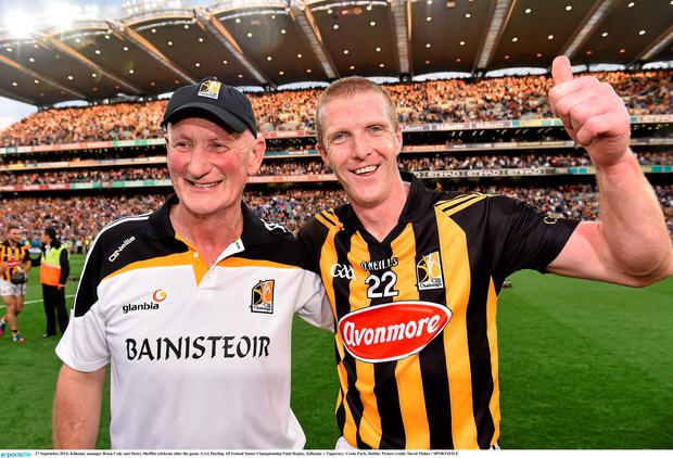 Kilkenny manager Brian Cody and Henry Shefflin celebrate after the game