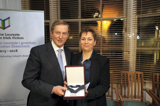 Anne Enright at her announcement as Inaugural Laureate For Irish Fiction with Taoseach Enda Kenny