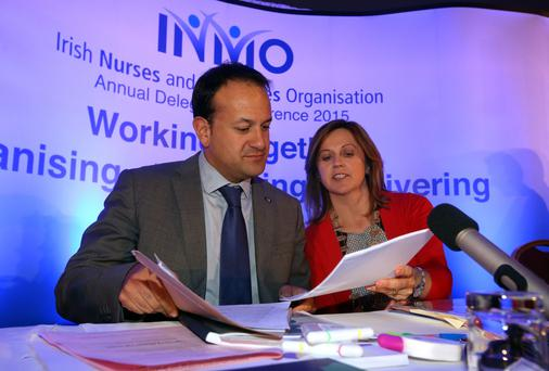 Minister for Health Leo varadkar pictured with Claire Mahon President of the INMO, after he addressed the nurses at the INMO Annual Delegate Conference at the Knightsbrook hotel in Trim