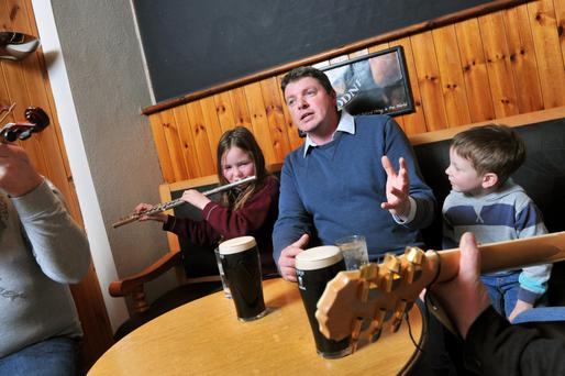 Rebel songs: Graham Clifford, mid-ballad, in the Wagon Tavern, Fermoy, Co Cork