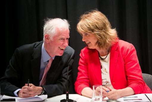 Commission chariman Donal De Buitleir and Social Protection Minister Joan Burton launch the report. Photo: Gareth Chaney/Collins