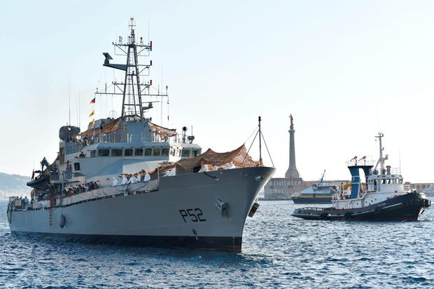 The Irish naval vessel LE Niamh arrives at Messina port in Sicily, Italy, with migrants recused from the Mediterranean Sea