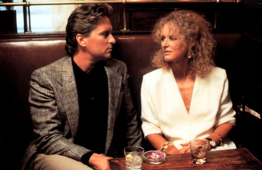 Michael Douglas and Glenn Close in the 1987 film 'Fatal Attraction', which told the story of an adulterous affair and its aftermath