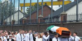 The Funeral of former IRA Man Kevin McGuigan took place at St Mathew's Church on tuesday, Mr McGuigan, 53, was murdered at his home at Comber Court in the Short Strand area of east Belfast last Wednesday.