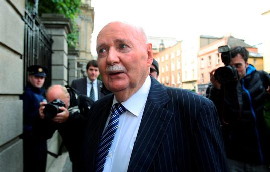 PHANTOM BARRIERS: Michael Fingleton, former chief executive of the Irish Nationwide Building Society, arriving at the Banking Inquiry at Leinster House on Wednesday