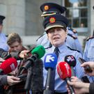 Garda Commissioner Noirin O'Sullivan at Dundalk Garda Station after the murder of Garda Anthony Golden