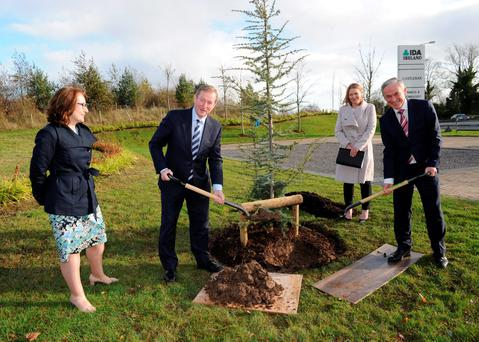 Taoiseach Enda Kenny (left) and Minister for Jobs Richard Bruton plant a tree at the IDA Business and Technology Park in Castlebar. Also pictured are Ita Lynn (left), IDA Acting Regional Business Development Manager for the West, and the IDA's Property Portfolio Manager Sarah O'Connell