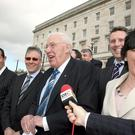 This picture from 2007 shows, from left, the then Northern Ireland Culture Minister Edwin Poots, Finance Minister Peter Robinson, First Minister Rev Ian Paisley, Ian Paisley Junior and Deputy First Minister and Environment Minister Arlene Foster. Foster is on course to take over the DUP