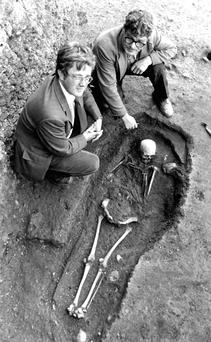 HISTORY: Pat Wallace (left) with the late Martin Connolly, at the Wood Quay excavation site in the 1970s