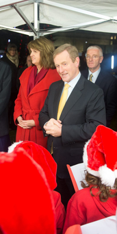 Labour leader Joan Burton and Taoiseach Enda Kenny outside Leinster House last week. Photo: Arthur Carron