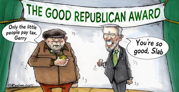 'As Adams has pointedly remarked that Murphy continues to maintain his innocence, does that mean he prefers his friend's assurances to the verdict of the court?' Cartoon by Ken Lee