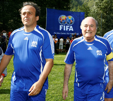 Michel Platini and Sepp Blatter, who have both received eight-year bans from all football from FIFA over a massive and unusual payment made by Blatter to Platini