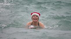 Carol Hunt who took part in the Christmas swim at Seapoint in Dublin. Photo: Mark Condren