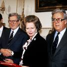 Taoiseach Garret FitzGerald gets a less than warm handshake from British prime minister Margaret Thatcher when strains in relationships between the two countries were at a high before the signing